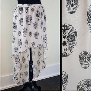 H&M Divided Skull Print High Low Skirt